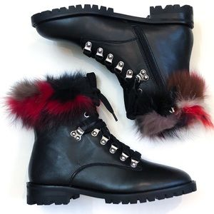 Rebecca Minkoff Jaylin Rabbit Fur Combat Boot NIB